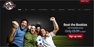 Skjermdump av Footballacca sin hjemmeside.